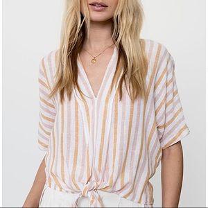 Rails Amber Stripe June Linen V-Neck Tie Blouse